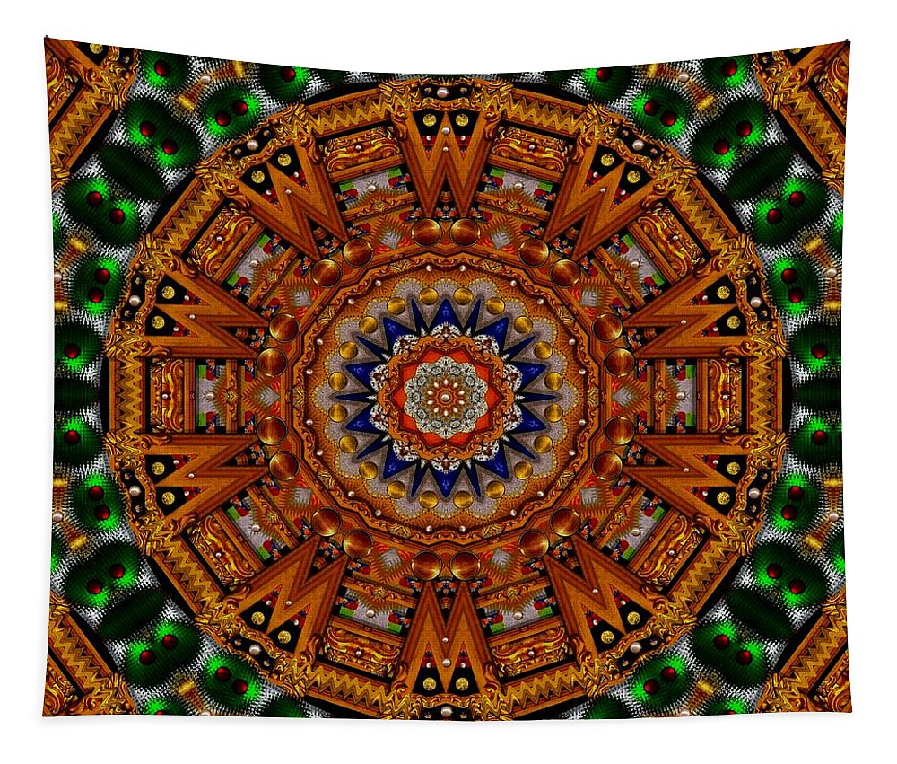 Golden Tapestry featuring the mixed media Golden Wonderful Delight by Pepita Selles