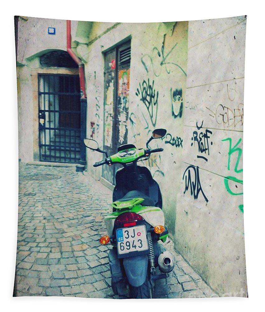 Vespa Tapestry featuring the mixed media Green Vespa In Prague by Linda Woods