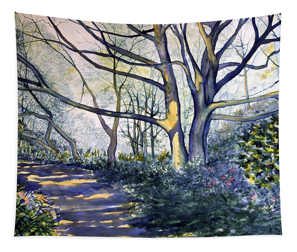 Traditional Painting Tapestry featuring the painting Halfway There Dane's Dyke by Glenn Marshall