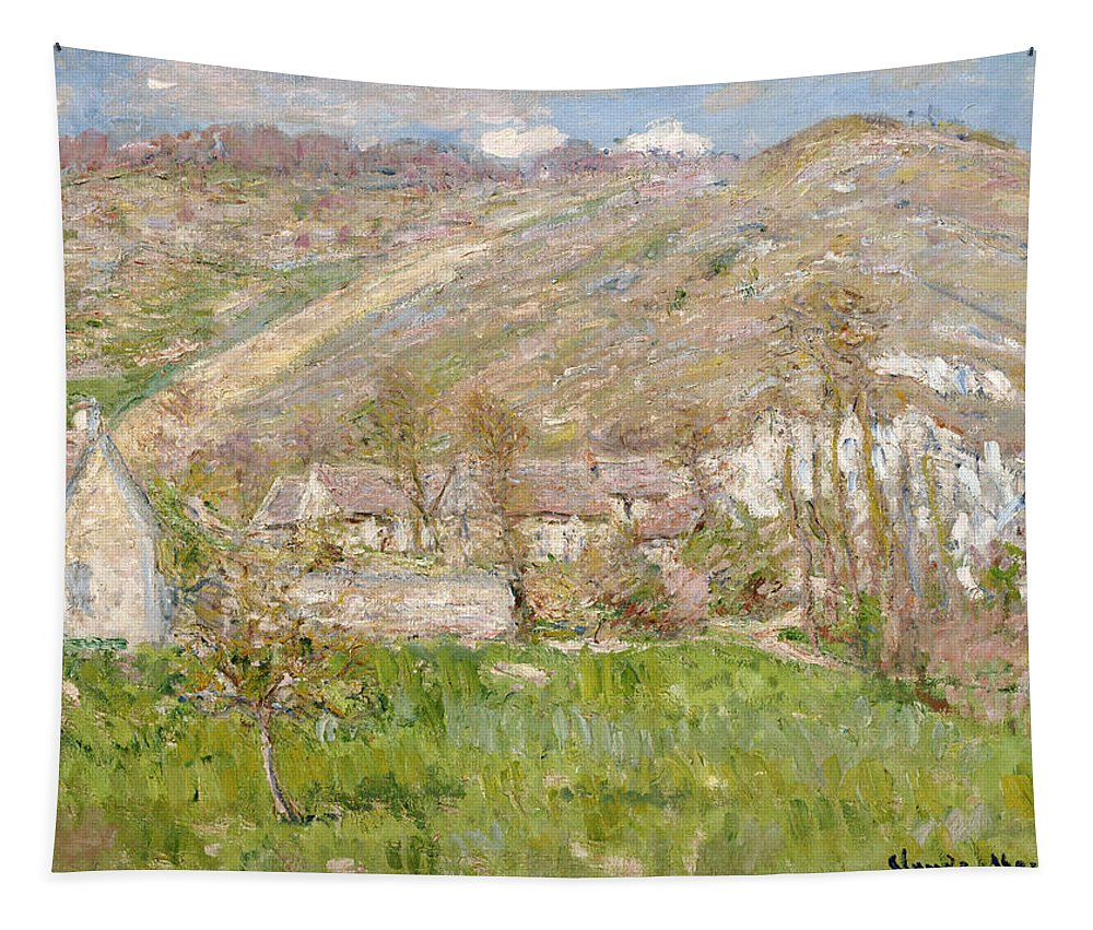 Hamlet On The Cliffs Near Giverny Tapestry featuring the painting Hamlet On The Cliffs Near Giverny by Claude Monet