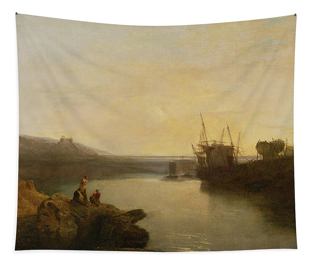Xyc111958 Tapestry featuring the photograph Harlech Castle - From Twgwyn Ferry by Joseph Mallord William Turner