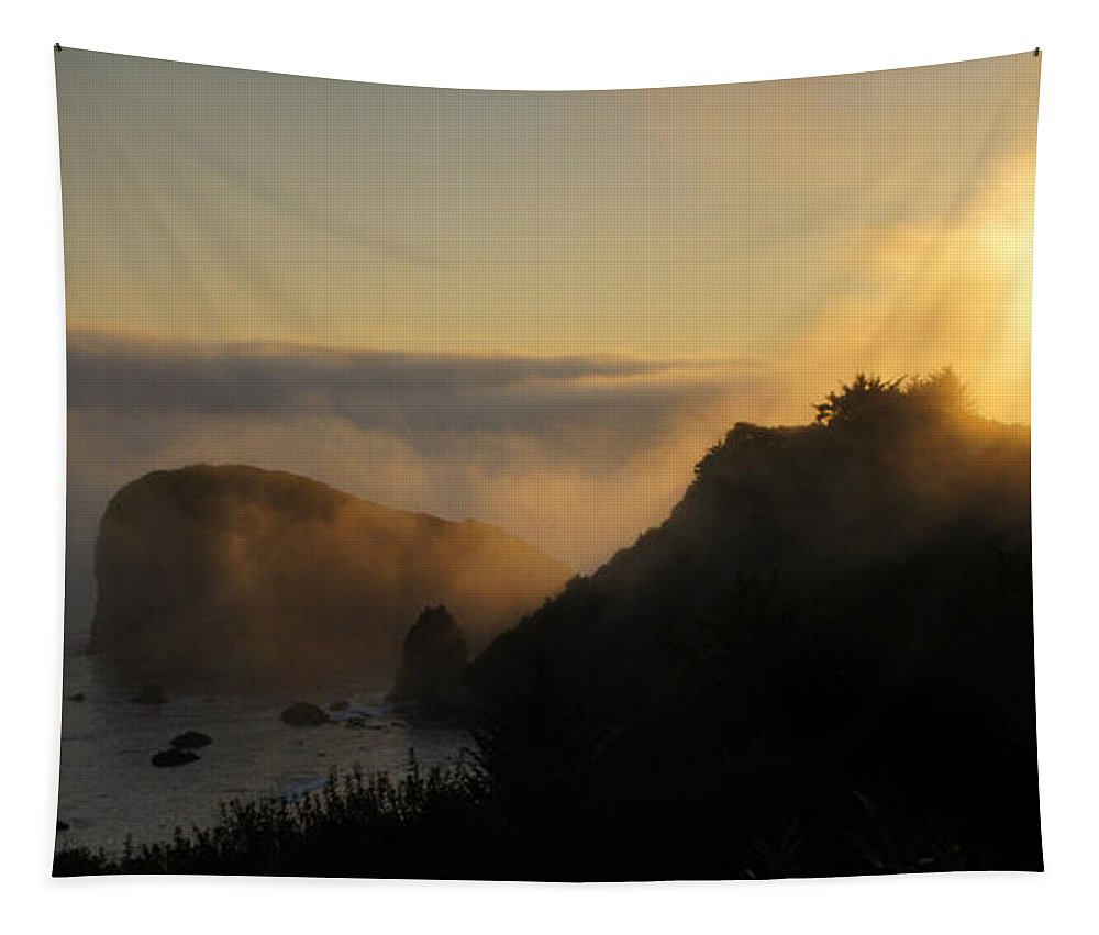 Panorama Tapestry featuring the photograph Harris Beach Sunset Panorama by Mick Anderson