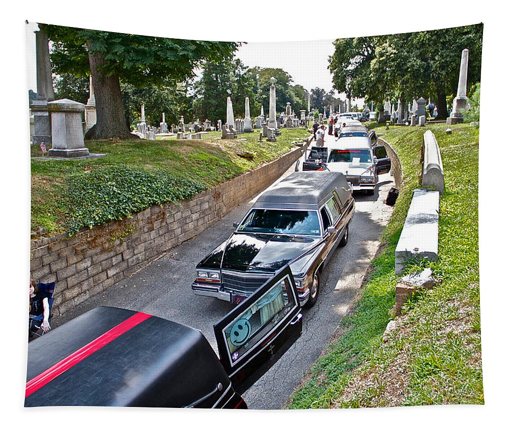 Laurel Hill Cemetery Hearses Show Hearse Tombstones Grave Stones Markers Philadelphia Tapestry featuring the photograph Hearses At Laurel Hill Cemetery by Alice Gipson