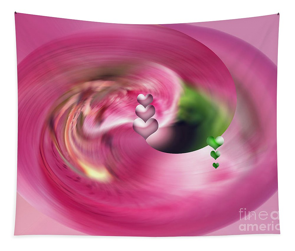 Abstract Tapestry featuring the digital art Heartswhirl by Linda Galok