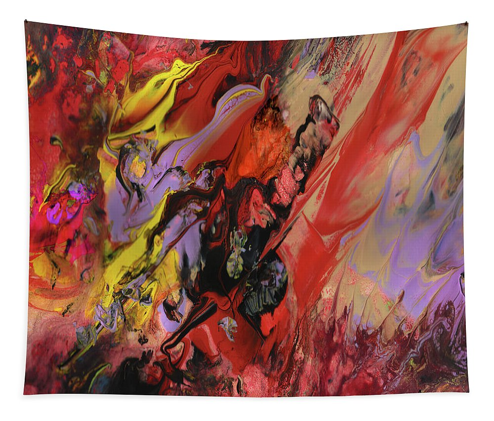Abstract Tapestry featuring the painting Hell by Miki De Goodaboom