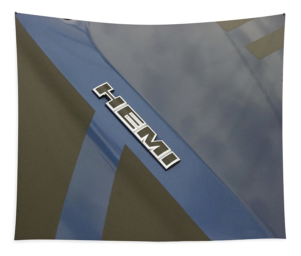 Transportation Tapestry featuring the photograph Hemi Emblem by Thomas Woolworth