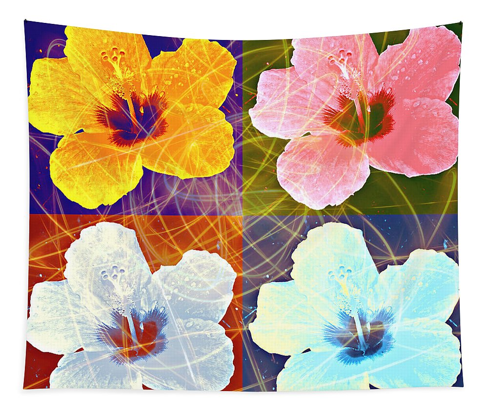 Hibiscus Tapestry featuring the photograph Hibiscus Blooming by Georgeta Blanaru
