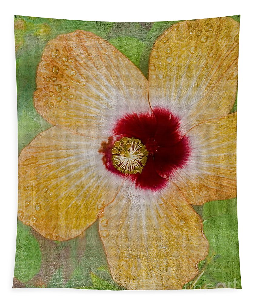 Flower Tapestry featuring the photograph Hibiscus Gold And Red by Deborah Benoit