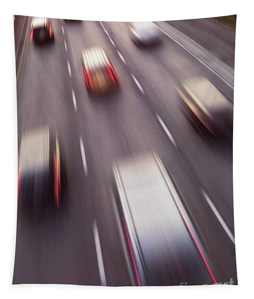 Highway Tapestry featuring the photograph Highway Traffic In Motion by Oleksiy Maksymenko