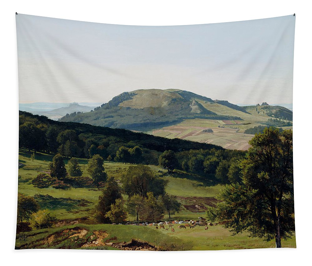 Albert Bierstadt Tapestry featuring the painting Hill And Dale by Albert Bierstadt