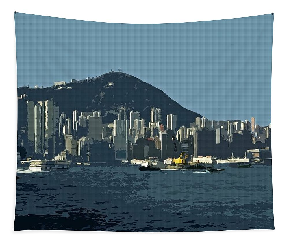 Asien Tapestry featuring the photograph Hong Kong Island ... by Juergen Weiss