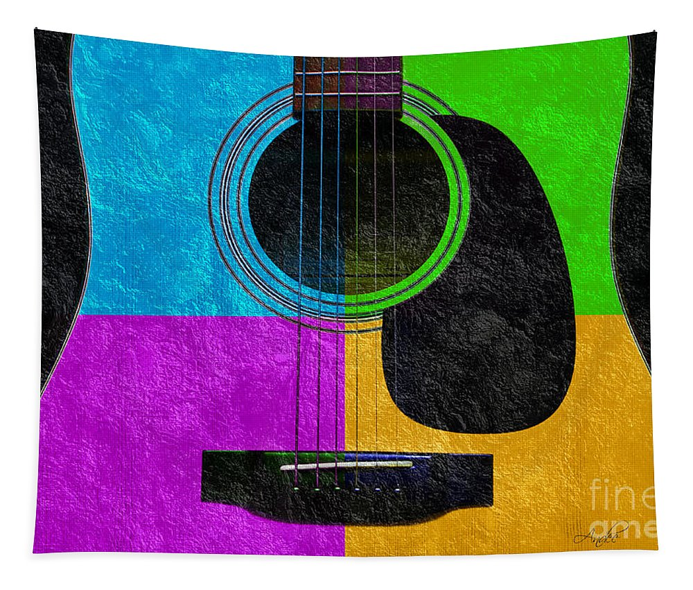 Hour Glass Guitar Tapestry featuring the photograph Hour Glass Guitar 4 Colors 3 by Andee Design