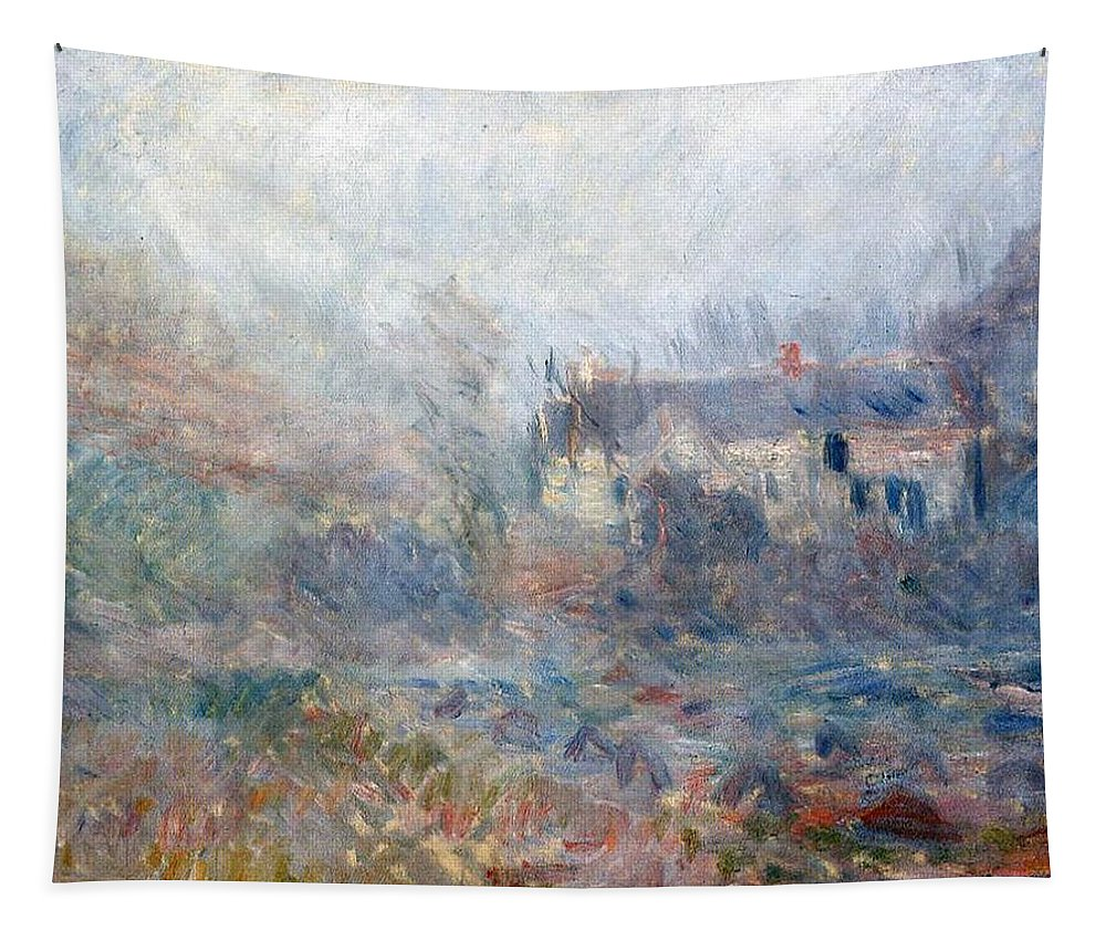 Claude Monet Tapestry featuring the painting House At Falaise by Claude Monet
