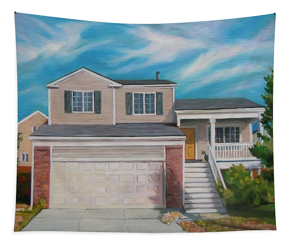 Commission Tapestry featuring the painting House Commision by Nancy Griswold