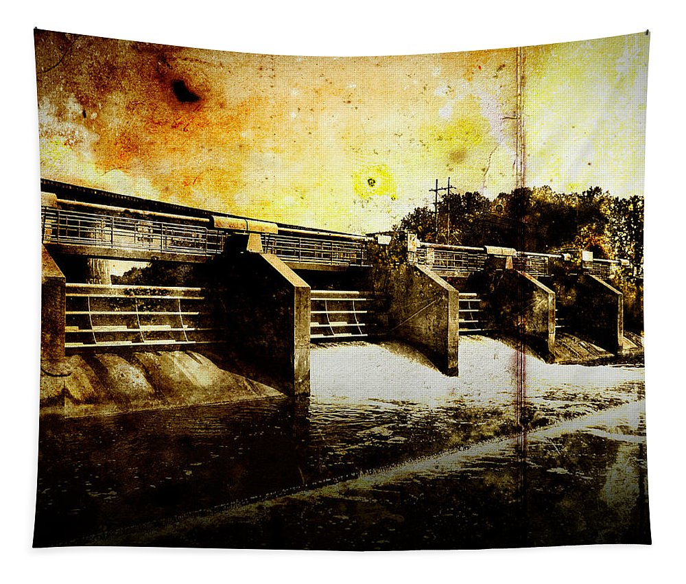 Photo Tapestry featuring the photograph Huron River Dam by Phil Perkins