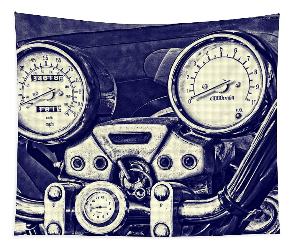 Motorbike Tapestry featuring the photograph I Love My Bike by Steve Purnell