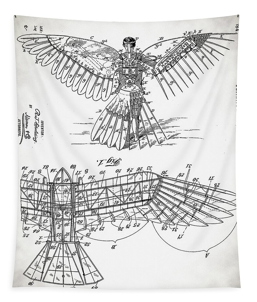 Icarus Patent Tapestry featuring the digital art Icarus Patent 1889 by Bill Cannon
