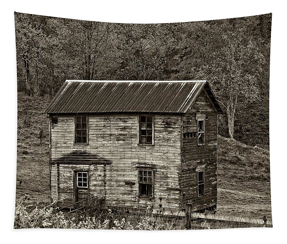 Glady Tapestry featuring the photograph If These Walls Could Talk Sepia by Steve Harrington