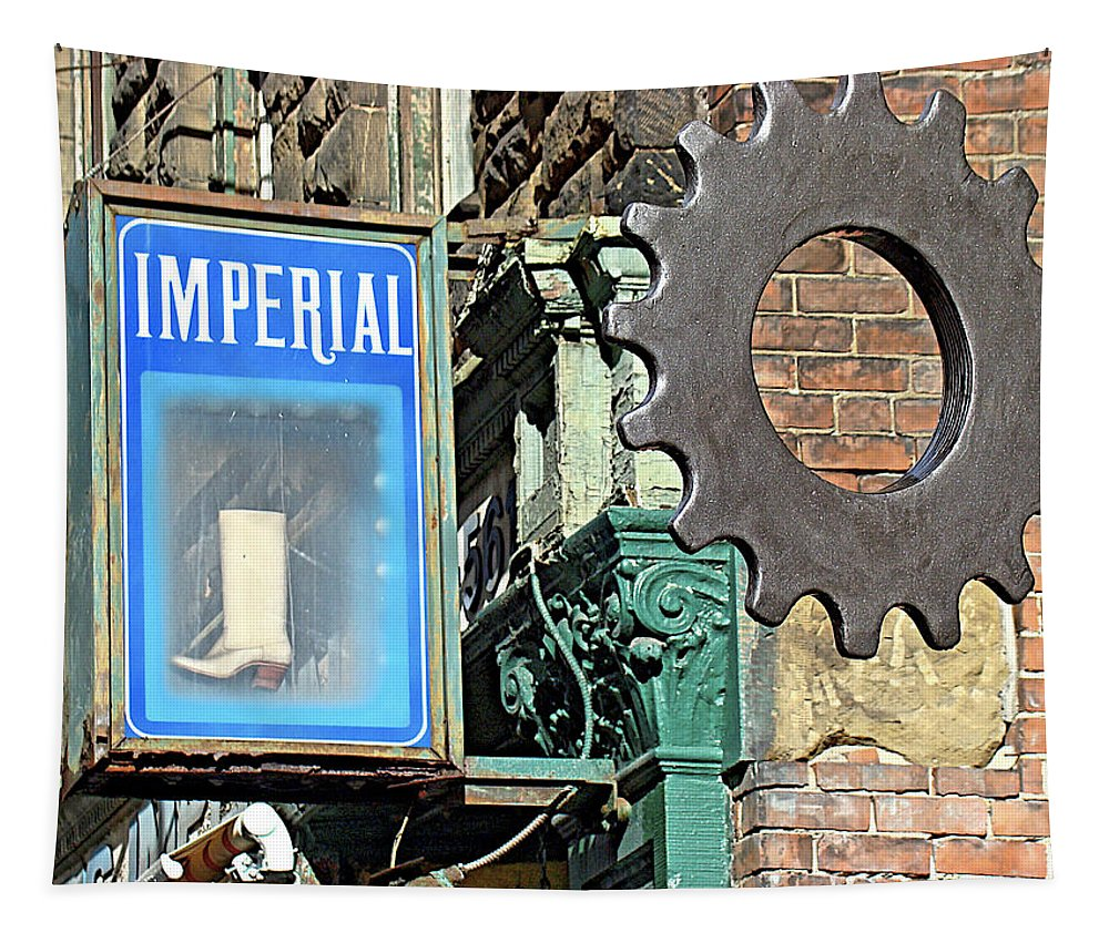 Imperial Street Scene Sign Sprocket Brick Philadelphia Tapestry featuring the photograph Imperial by Alice Gipson