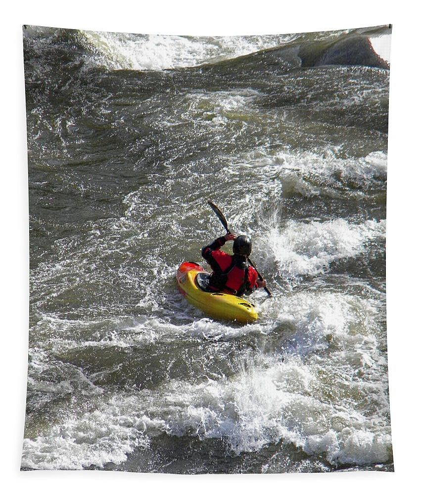 Kayak Tapestry featuring the photograph In The Channel by Frank Wilson
