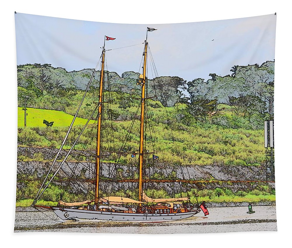Sailboat Tapestry featuring the photograph In Tropical Waters by Richard Ortolano