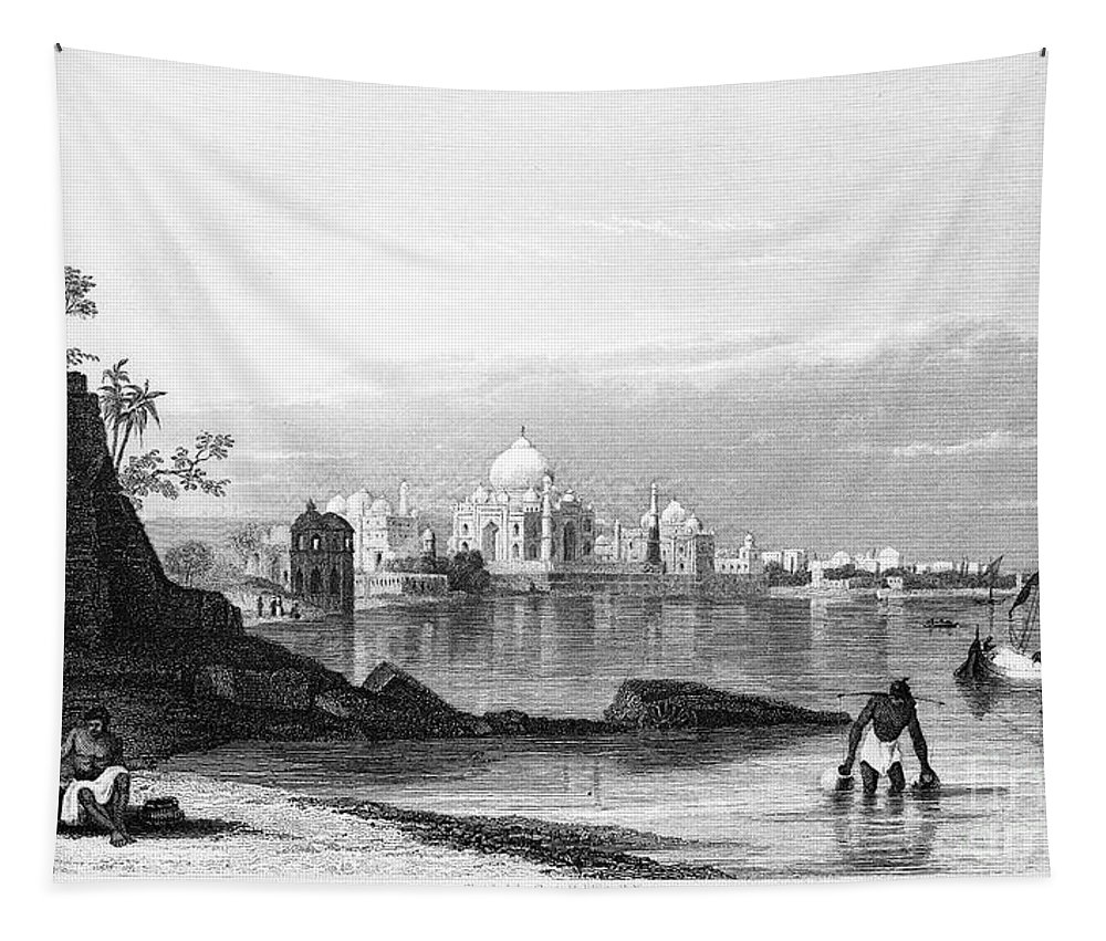 1860 Tapestry featuring the photograph India: Taj Mahal, C1860 by Granger