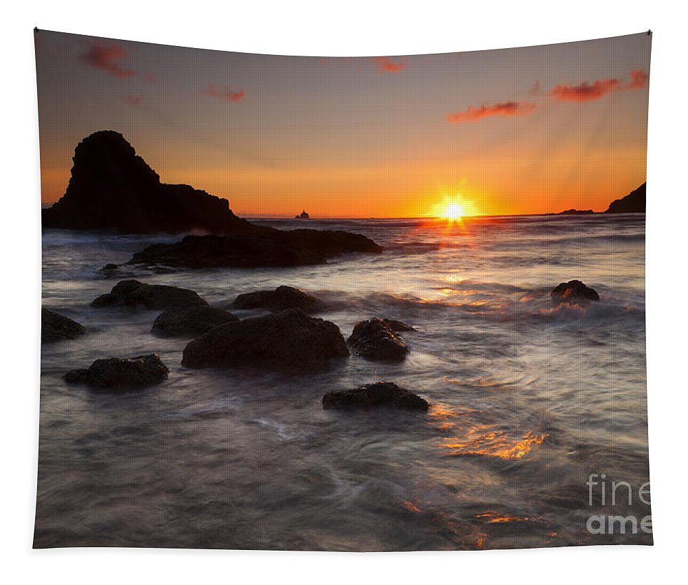 Indian Beach Tapestry featuring the photograph Indian Beach Sundown by Mike Dawson
