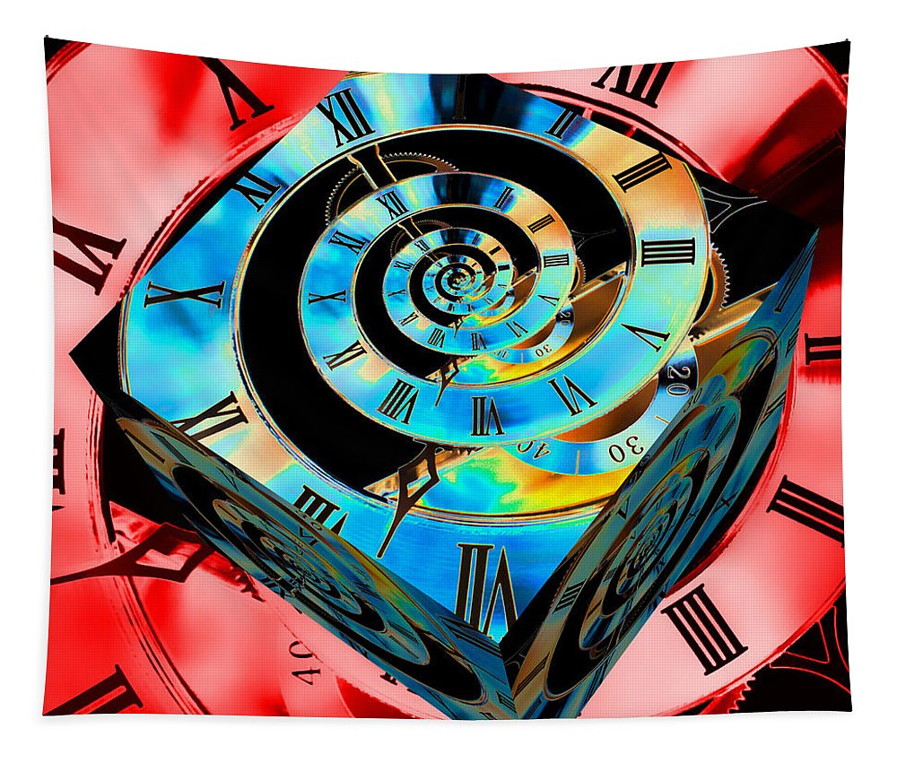 Clock Tapestry featuring the photograph Infinity Time Cube Blue On Red by Steve Purnell