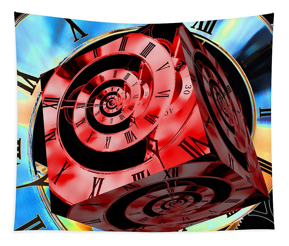 Clock Tapestry featuring the photograph Infinity Time Cube Red On Blue by Steve Purnell