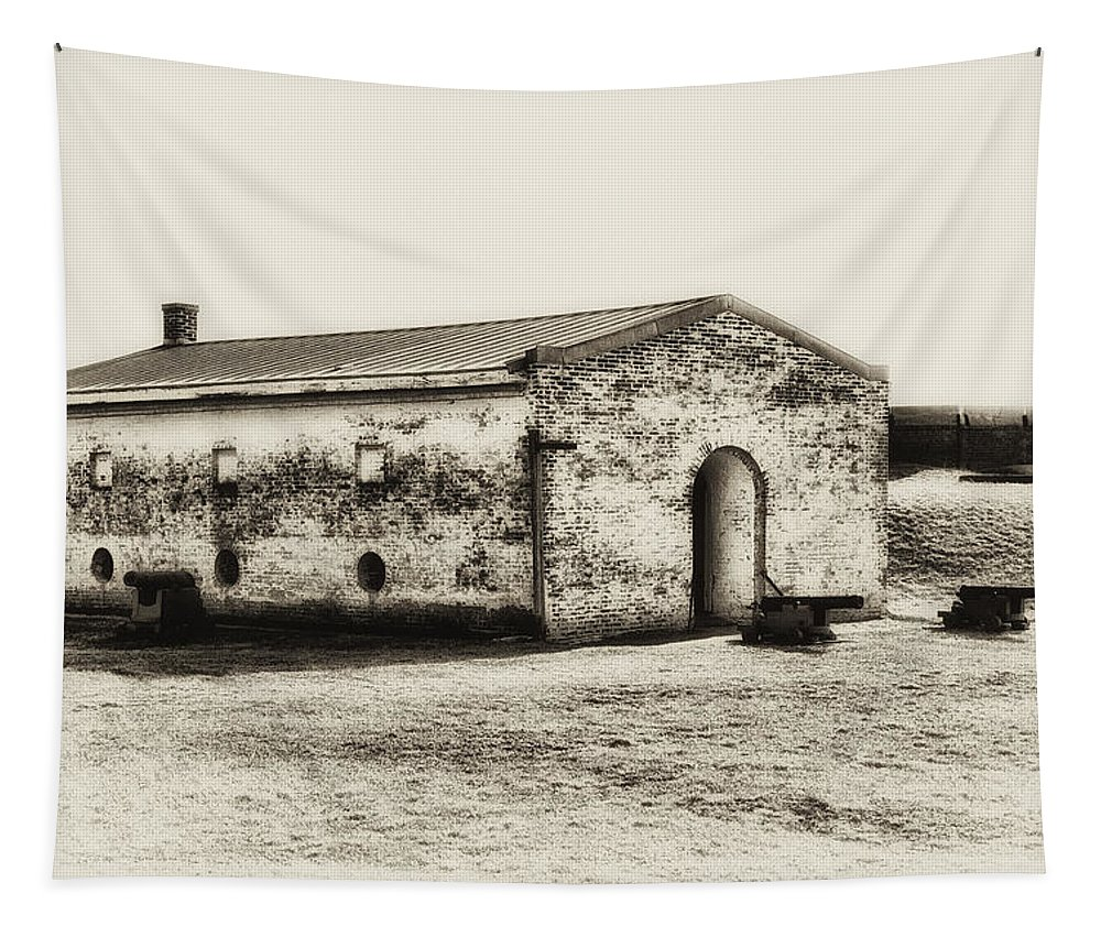 Fort Tapestry featuring the photograph Inside Fort Mifflin - Phildalphia by Bill Cannon