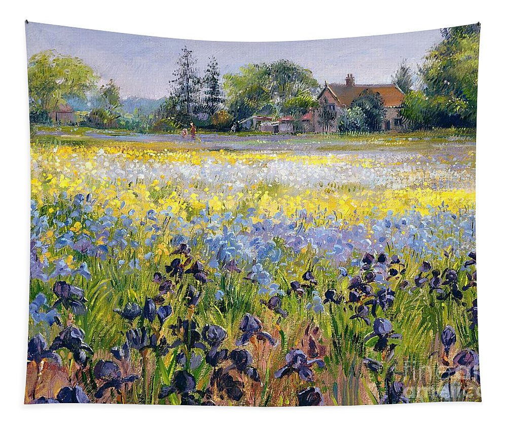 Landscape; Iris; Flower; Flowers; Irises; Tree; Trees; Field; House Tapestry featuring the painting Irises And Two Fir Trees by Timothy Easton