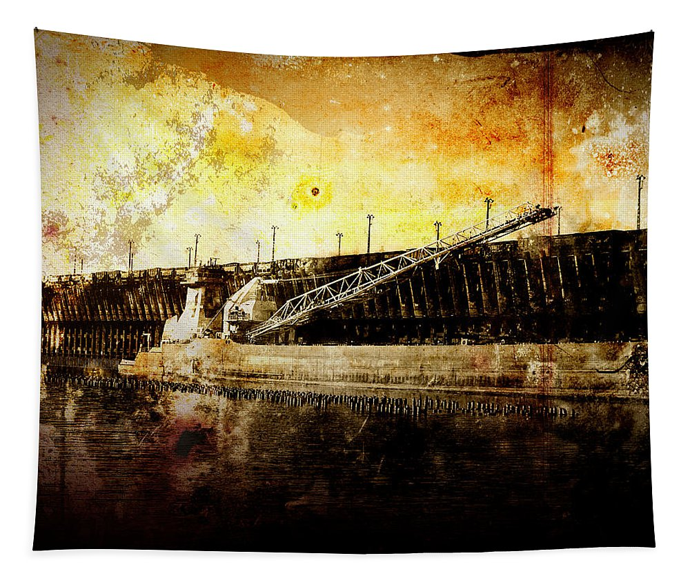 Photo Tapestry featuring the photograph Iron Ore Freighter by Phil Perkins