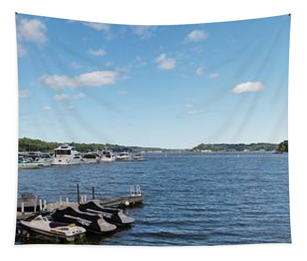 Irondequoit Bay Tapestry featuring the photograph Irondequoit Bay Panorama by William Norton