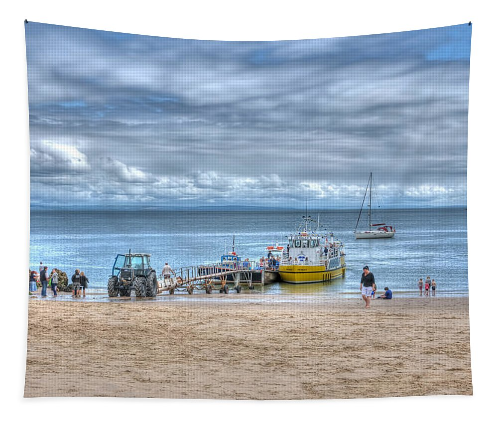 Tenby Castle Beach Tapestry featuring the photograph Island Hoppers 1 by Steve Purnell