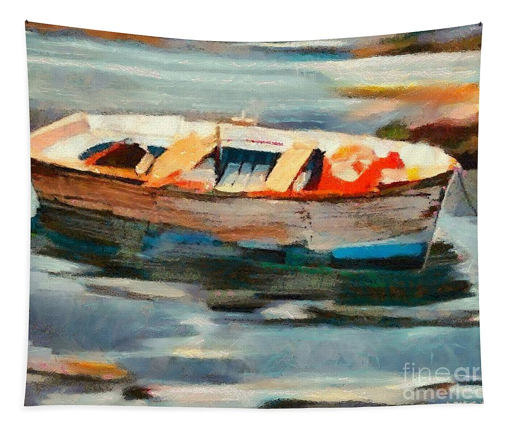 Boat Tapestry featuring the painting Istrian Fishing Boat by Dragica Micki Fortuna