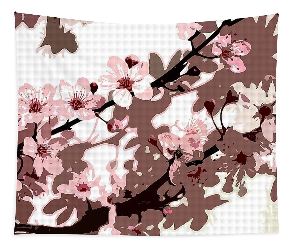Climbing; Creeper; Flowers; Pink; Flower; Cherry; Cherries; Climb: Japanese Blossom Tapestry featuring the painting Japanese Blossom by Sarah O Toole