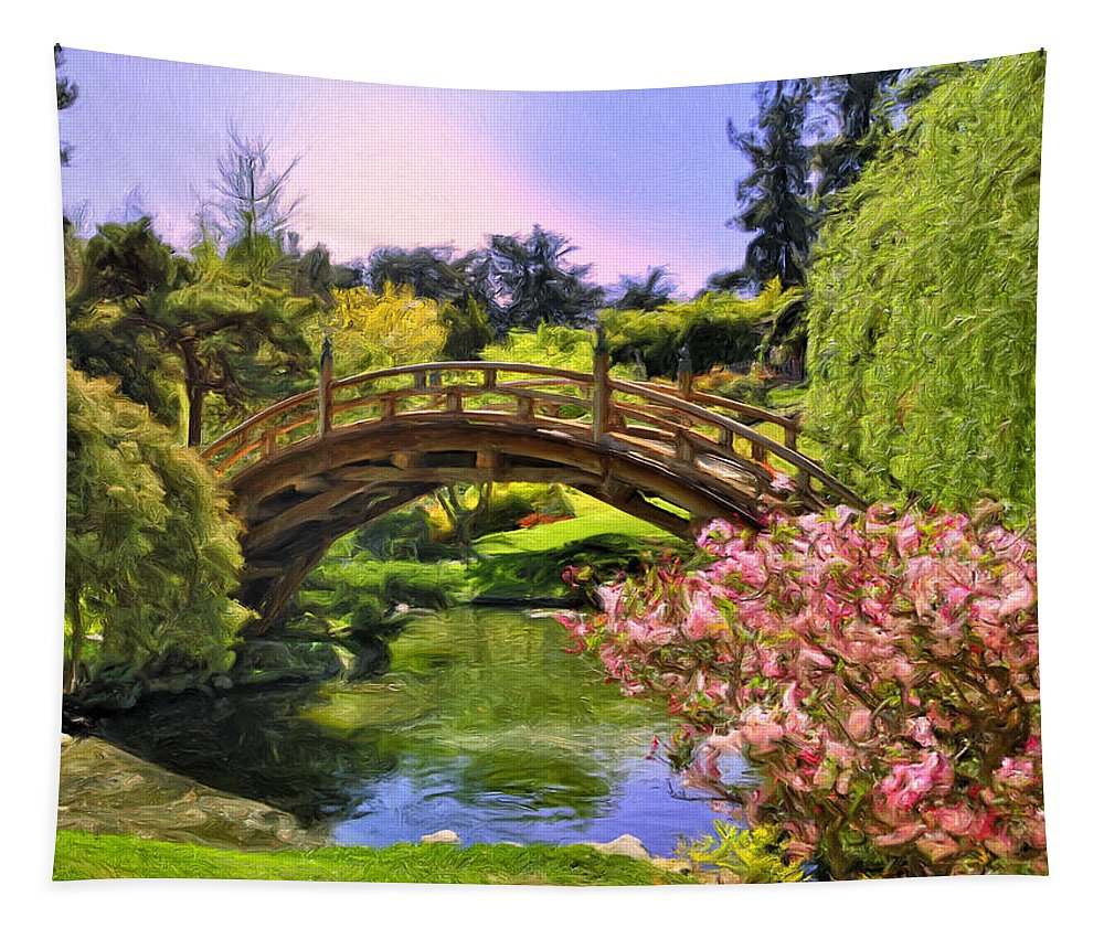 Japanese Garden Tapestry featuring the painting Japanese Garden by Dominic Piperata