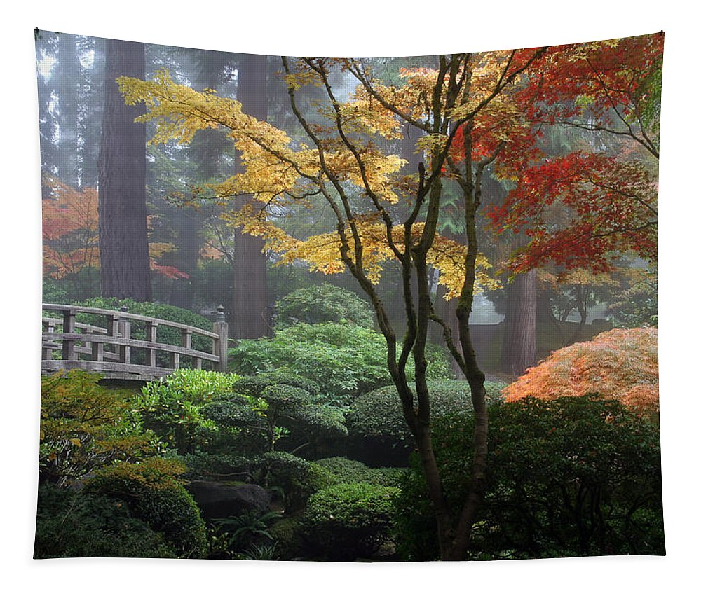 Japanese Gardens Fall Tapestry featuring the photograph Japanese Gardens Fall by Wes and Dotty Weber
