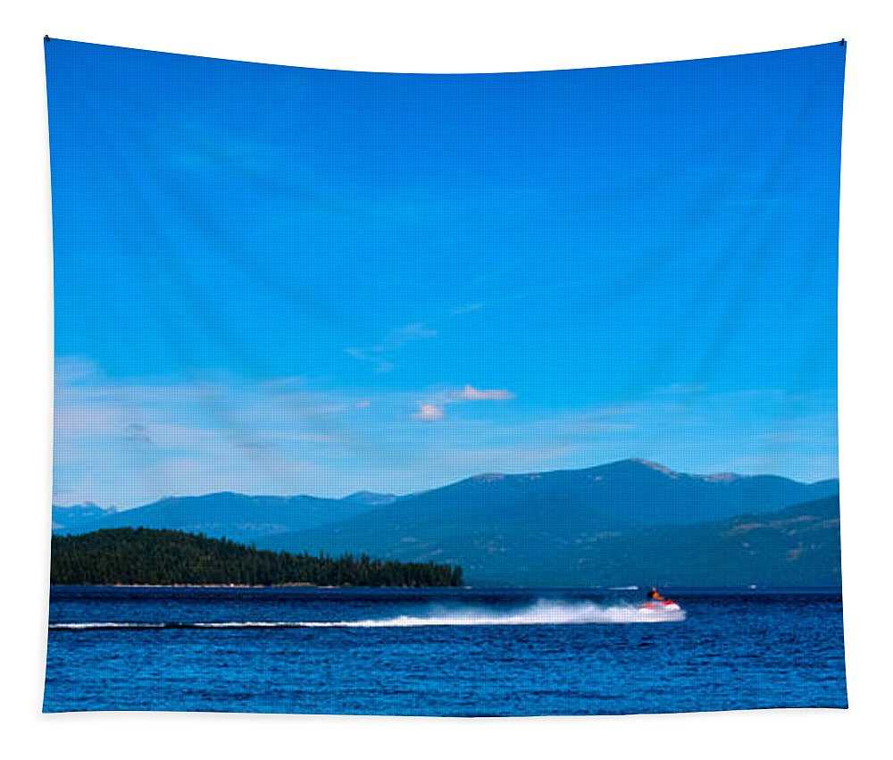Jet Ski Tapestry featuring the photograph Jet Ski On Priest Lake by David Patterson