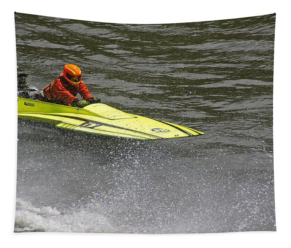 Boatnik Tapestry featuring the photograph Jetboat In A Race At Grants Pass Boatnik by Mick Anderson