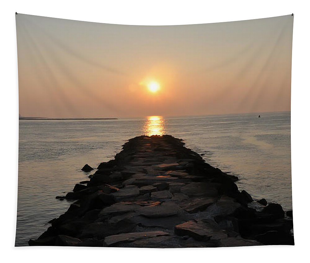 Jetty Sunrise Tapestry featuring the photograph Jetty Sunrise by Bill Cannon