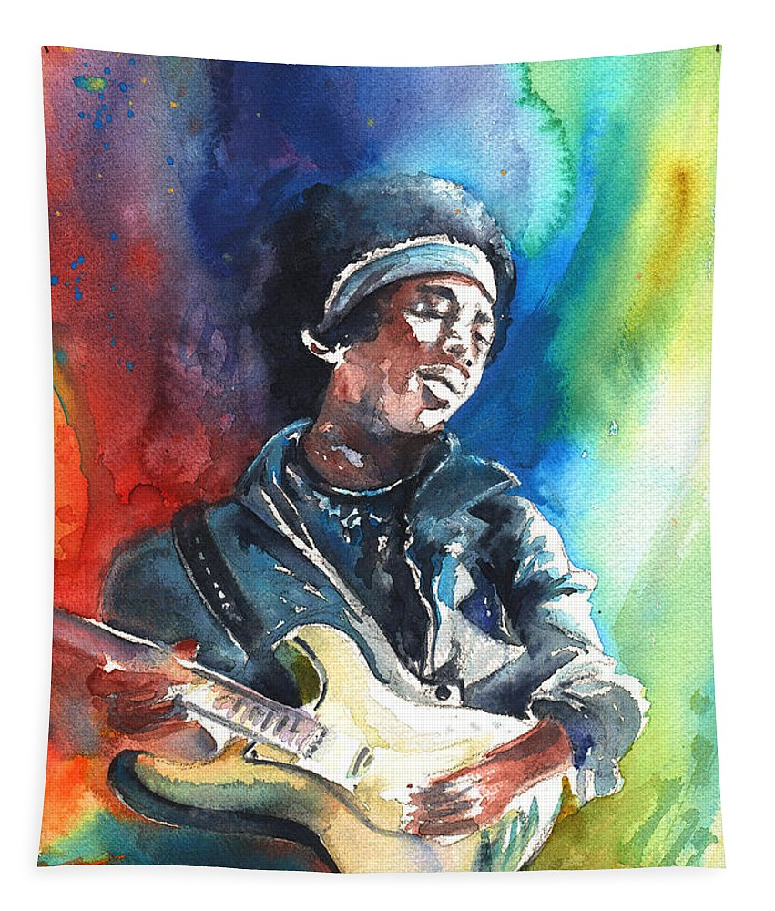Music Tapestry featuring the painting Jimi Hendrix 02 by Miki De Goodaboom