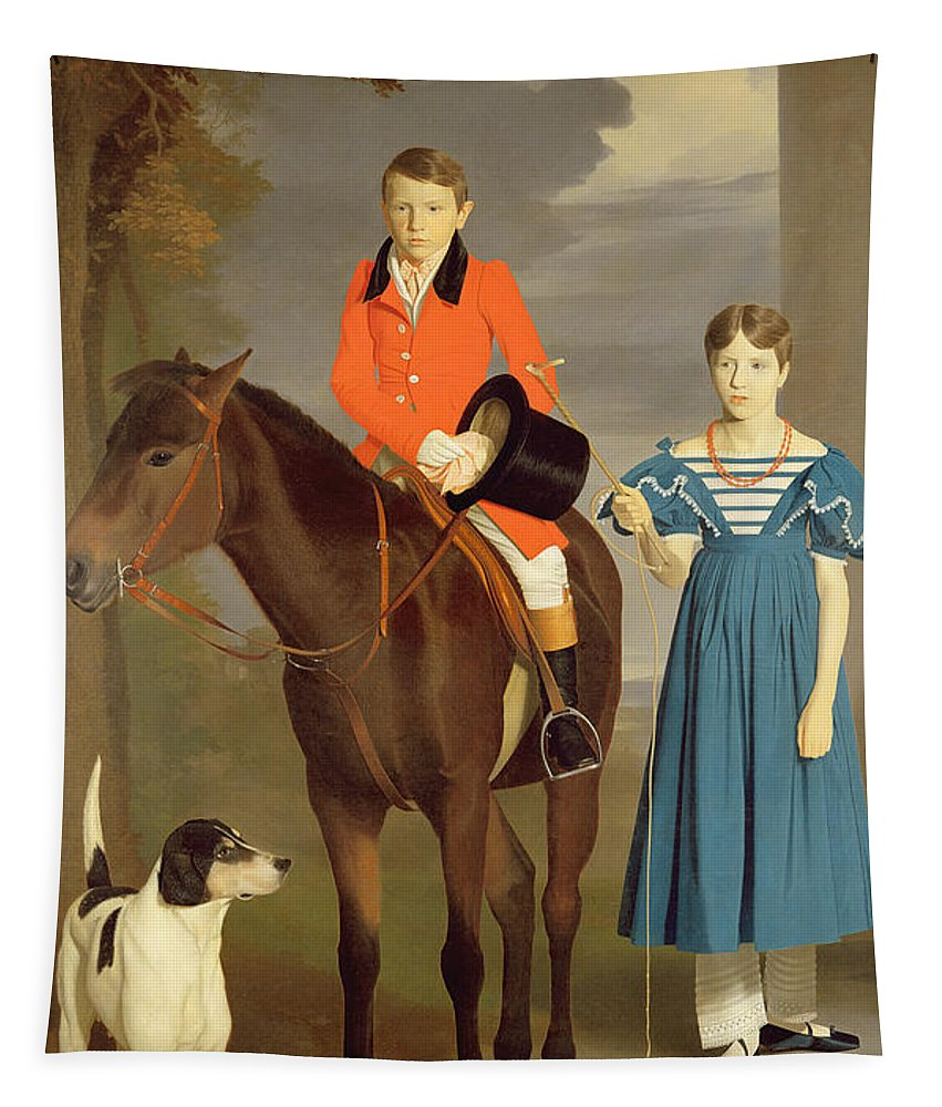 John Tapestry featuring the painting John Gubbins Newton And His Sister Mary by Robert Burnard