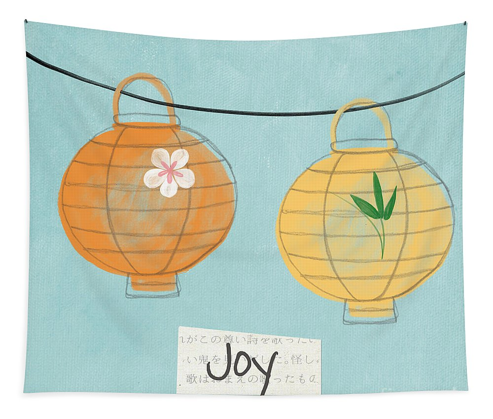 Joy Tapestry featuring the painting Joy Lanterns by Linda Woods