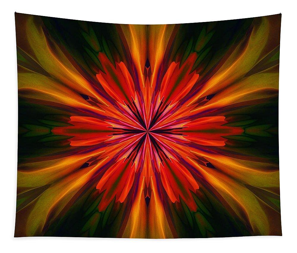 Kaleidoscope Tapestry featuring the digital art Kaleidoscope Floral 121011 by David Lane