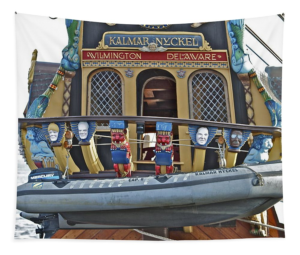 Kalmar Nyckel Back Boat Tall Ship Wilmington Delaware Penns Landing Philadelphia Tapestry featuring the photograph Kalmar Nyckel One by Alice Gipson