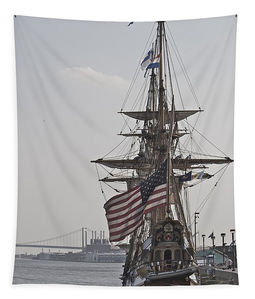 Kalmar Nyckel Tall Ship Penns Landing Wilmington Delaware Profile Boat Tapestry featuring the photograph Kalmar Nyckel Profile by Alice Gipson