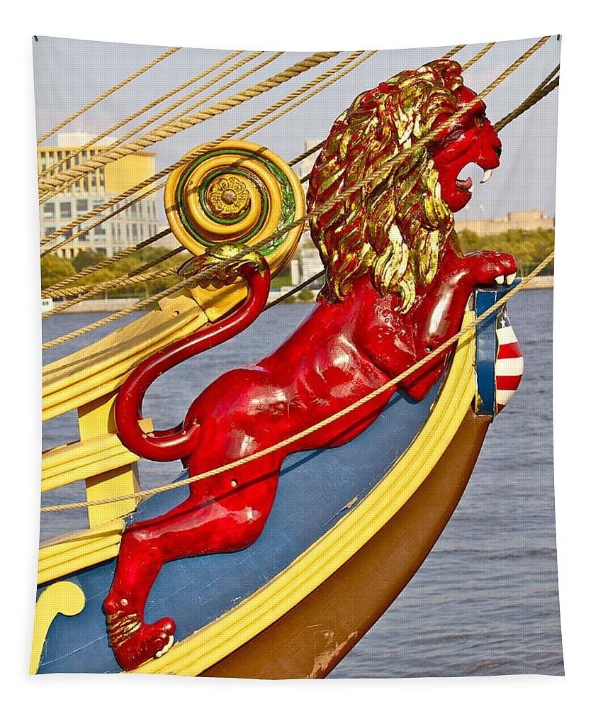 Kalmar Nyckel Tall Ship Red Lion Penns Landing Tapestry featuring the photograph Kalmar Nyckel Red Lion by Alice Gipson