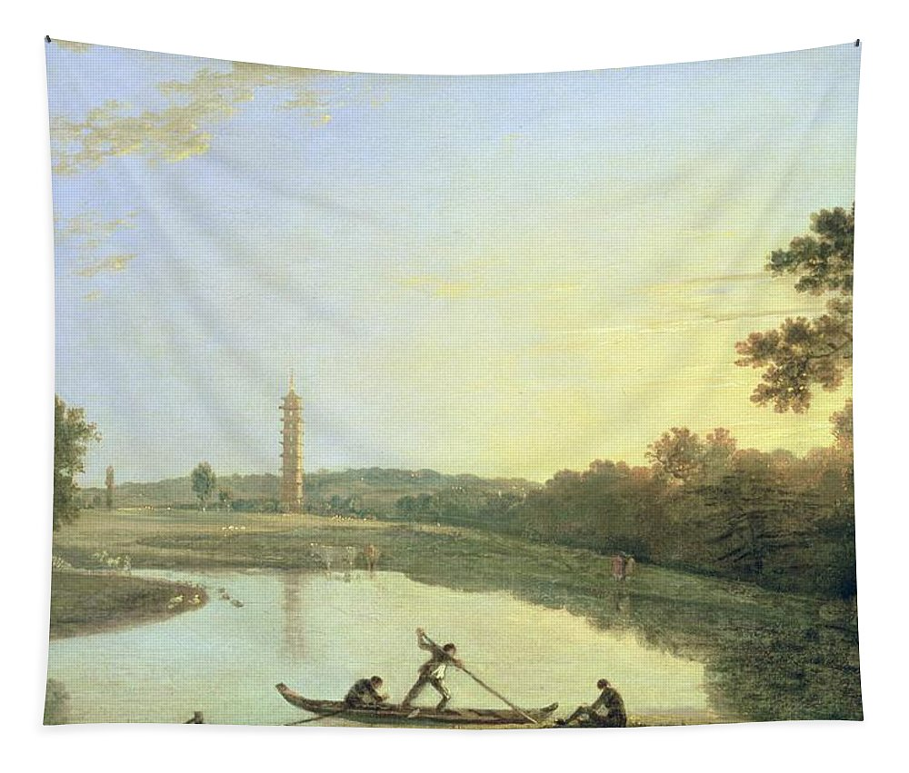 Kew Tapestry featuring the painting Kew Gardens - The Pagoda And Bridge by Richard Wilson