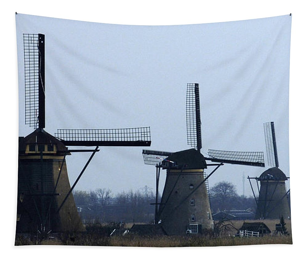 Kinderdijk Windmills Tapestry featuring the photograph Kinderdijk Windmills 2 by Bob Christopher